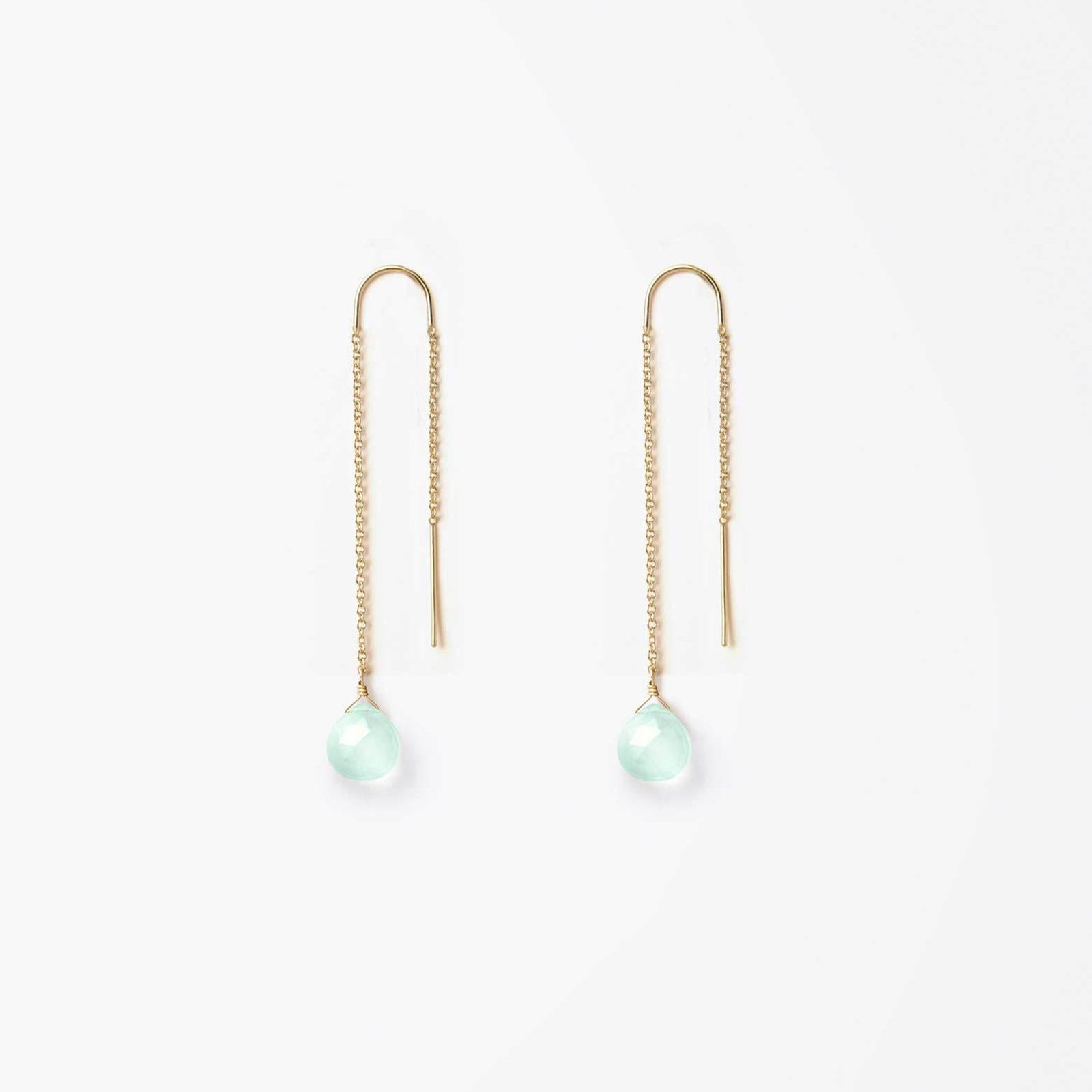 waterfall earring | sea glass chalcedony