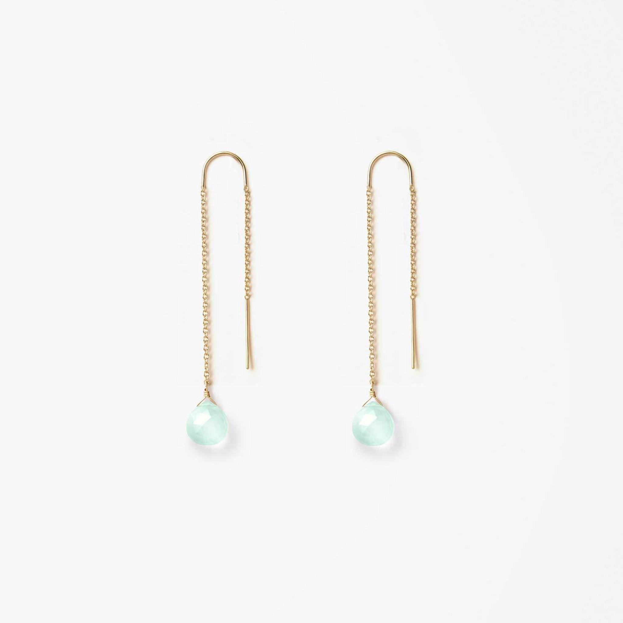 Wanderlust Life Ethically Handmade jewellery made in the UK. Minimalist gold and fine cord jewellery. waterfall earring, sea glass chalcedony