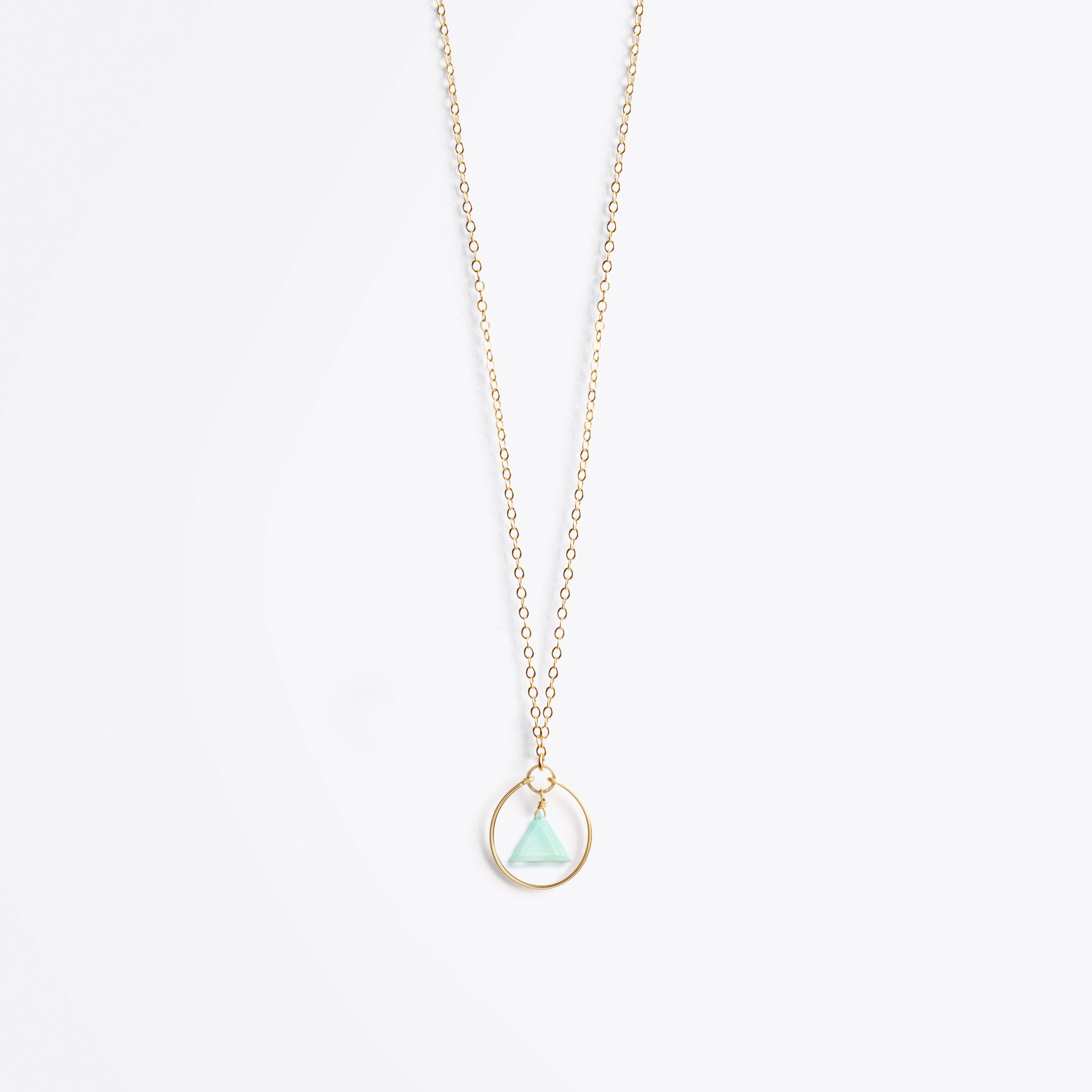 stella prism gold chain necklace | sea glass chalcedony