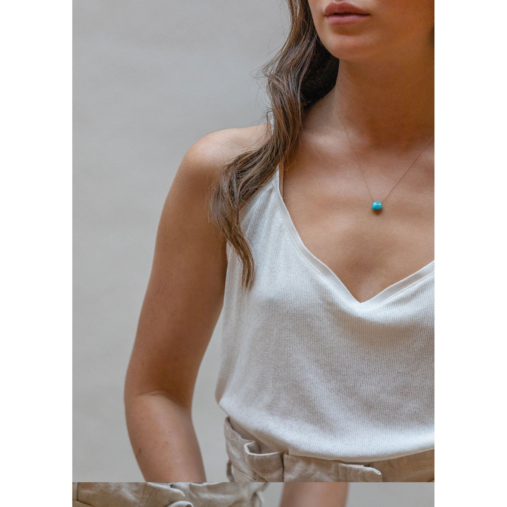 Wanderlust Life Ethically Handmade jewellery made in the UK. Minimalist gold and fine cord jewellery. turquoise fine cord necklace