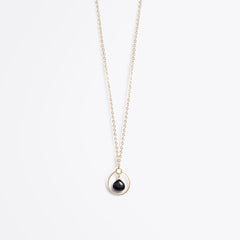 petite stella orb gold chain necklace | black spinel
