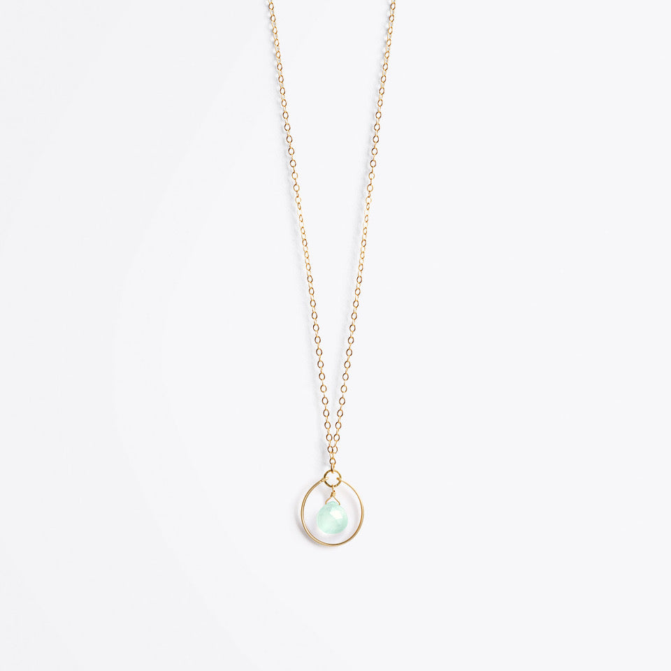 petite stella orb gold chain necklace | sea glass chalcedony