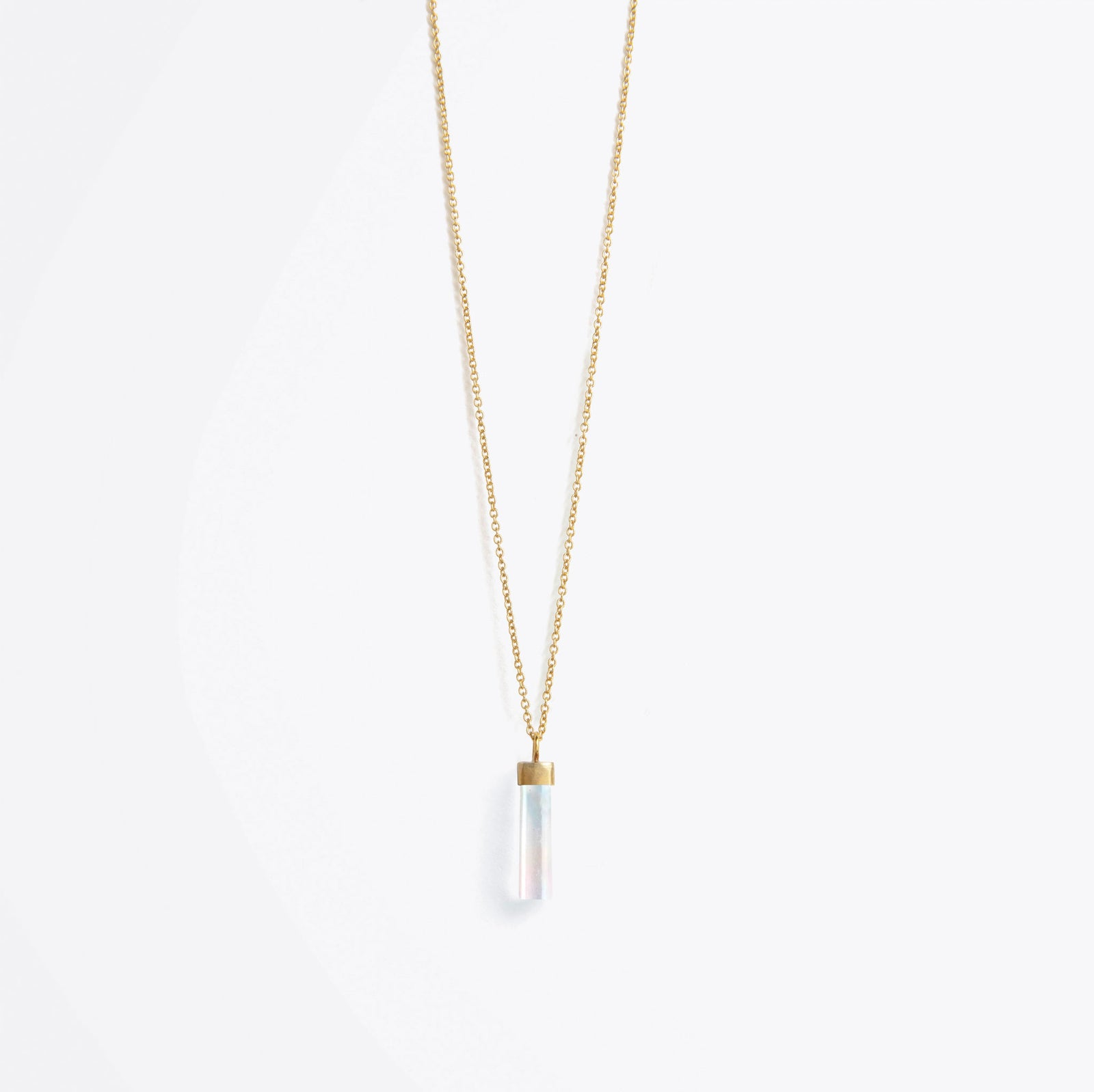 talisman fine gold chain necklace | rainbow moonstone