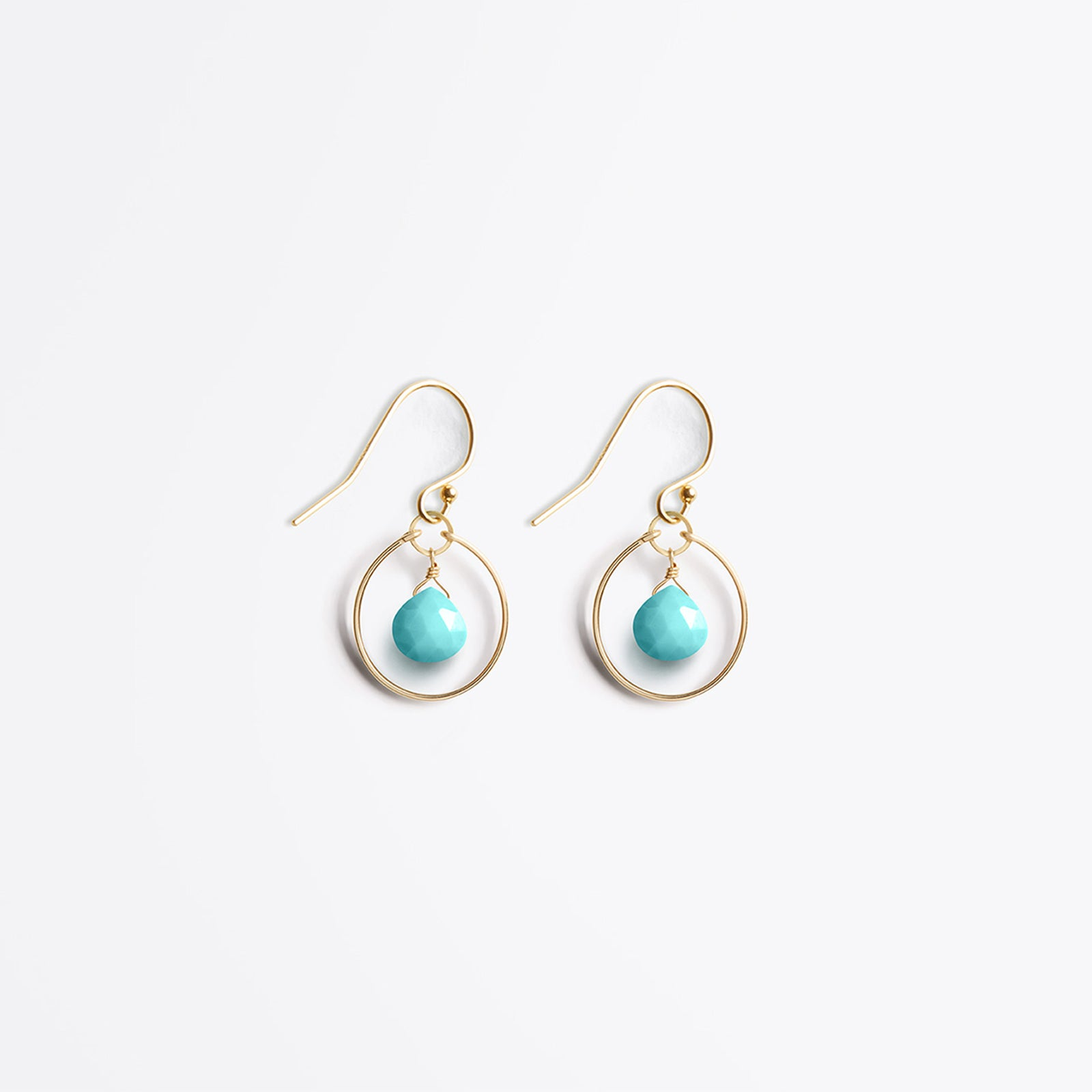Wanderlust Life Ethically Handmade jewellery made in the UK. Minimalist gold and fine cord jewellery. petite stella orb earring, arizona turquoise