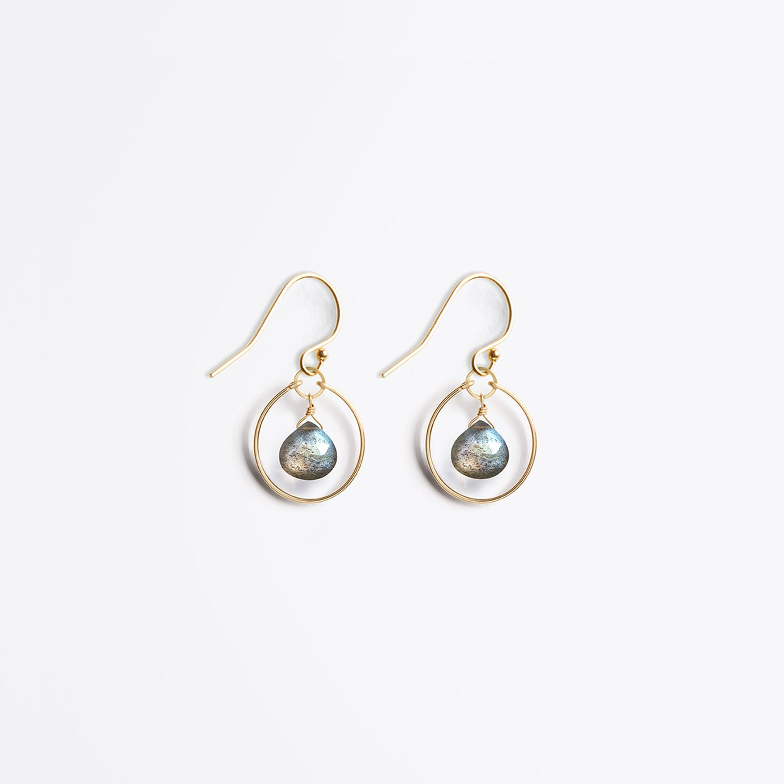 Wanderlust Life Ethically Handmade jewellery made in the UK. Minimalist gold and fine cord jewellery. petite stella orb earring, iridescent labradorite