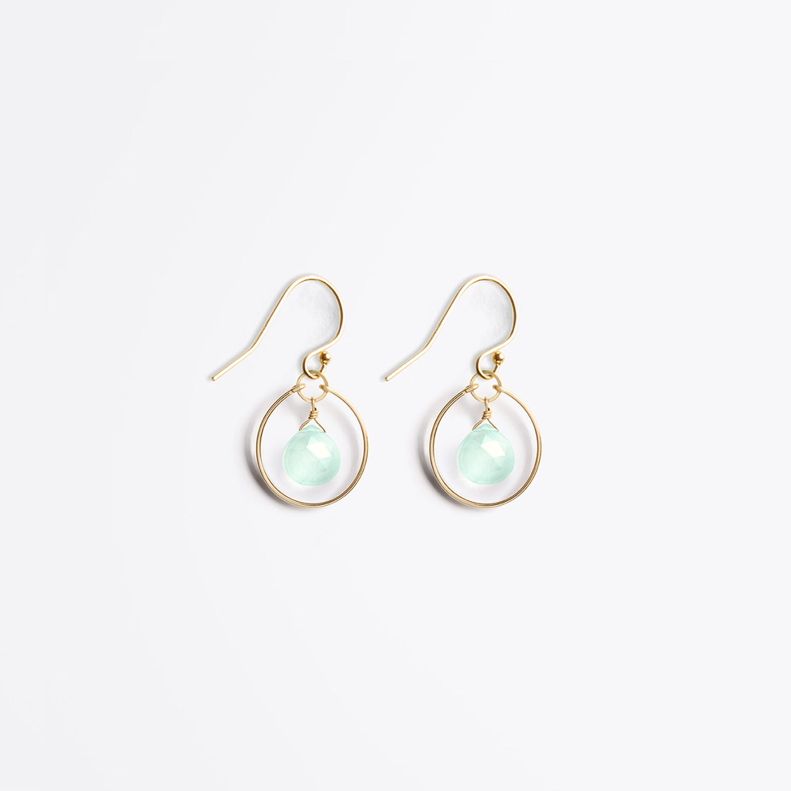 Wanderlust Life Ethically Handmade jewellery made in the UK. Minimalist gold and fine cord jewellery. petite stella orb earring, sea glass chalcedony