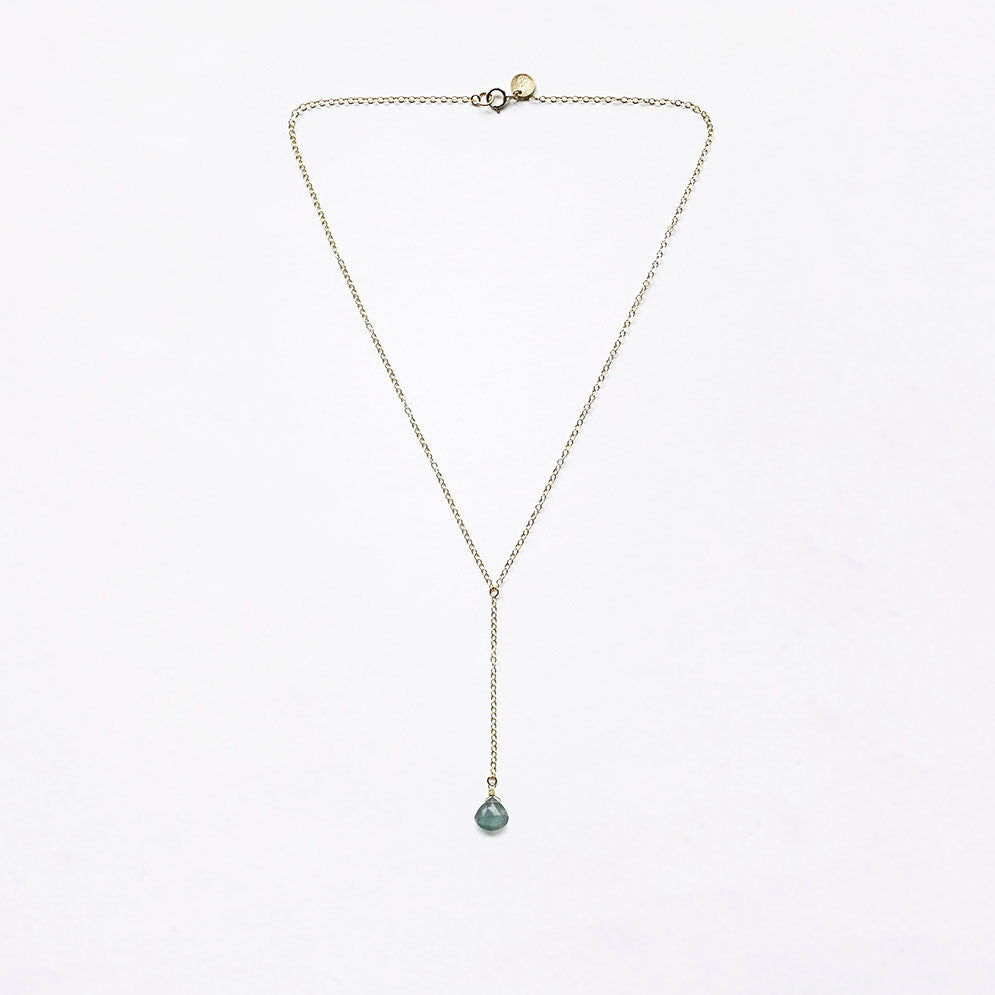 drape chain necklace | aquamarine
