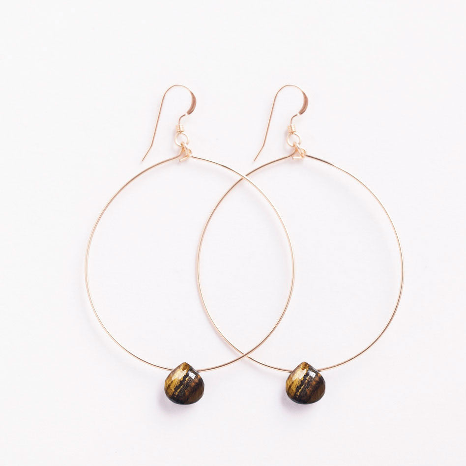 Wanderlust Life 14k gold filled large tuscany hoop earring with an tiger's eye faceted gemstone