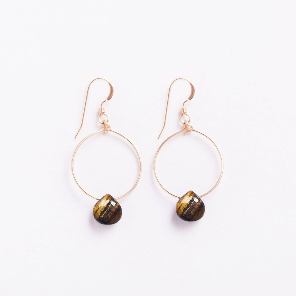 Wanderlust Life 14k gold filled small tuscany hoop earring with an tiger's eye faceted gemstone