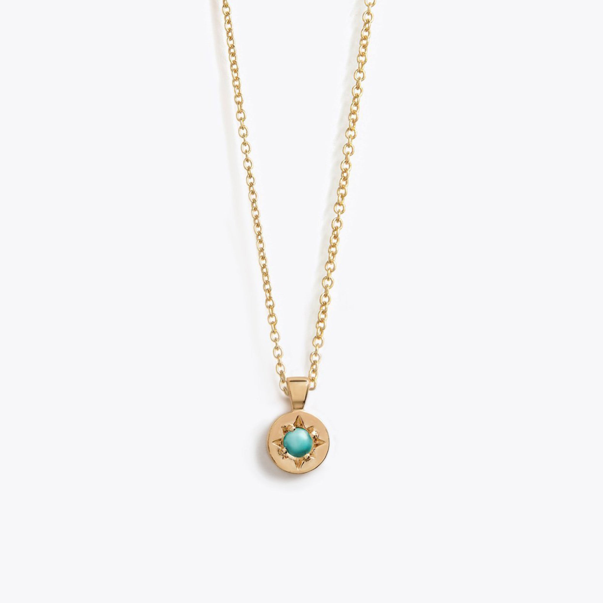Wanderlust Life gold December birthstone necklace with semi precious Arizona turquoise semi precious gemstone. Handmade birthstone necklace for December, the perfect gift.