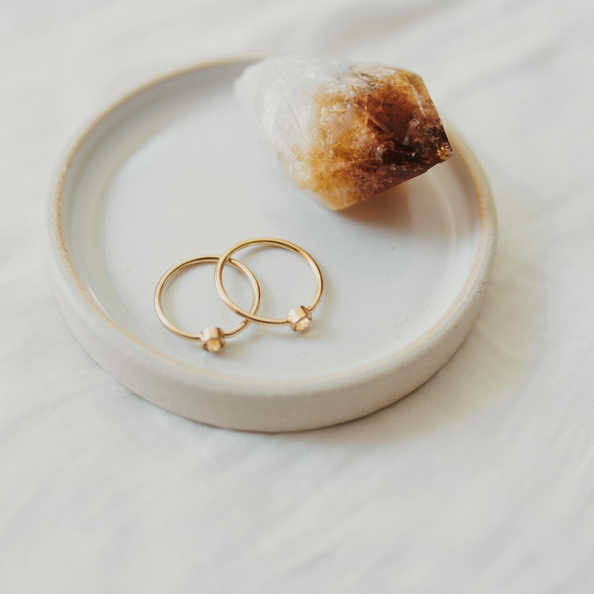 Wanderlust Life 14k gold fill ring featuring semi precious citrine gemstone. Available in various ring sizes. Wanderlust Life jewellery handmade in Devon, UK.