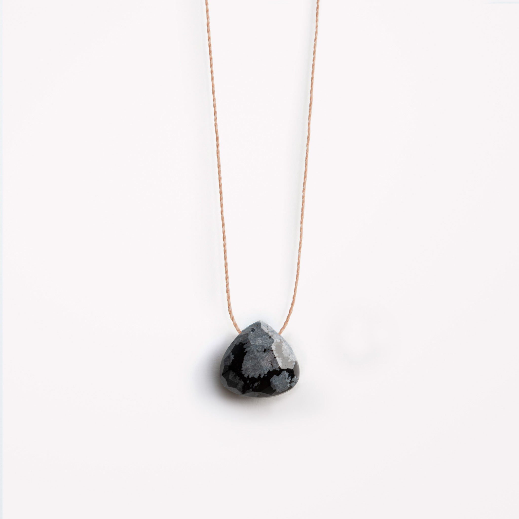 Wanderlust Life fine cord necklace. Obsidian gemstone fine cord necklace available in 2 lengths. 17