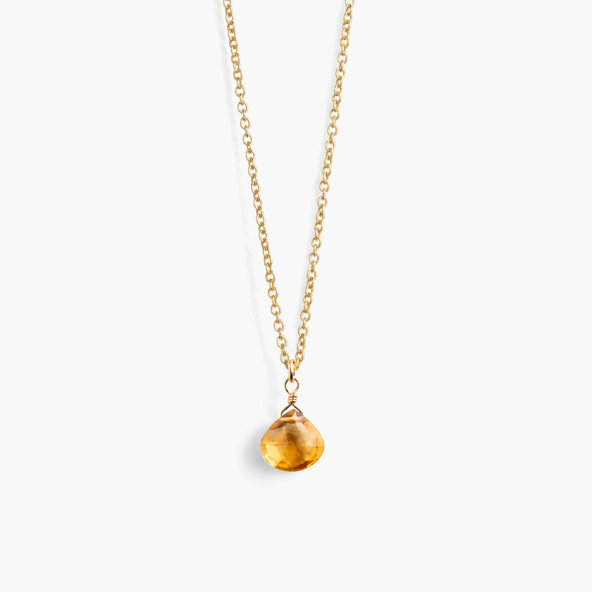 Fine Gold Chain Necklace | Citrine