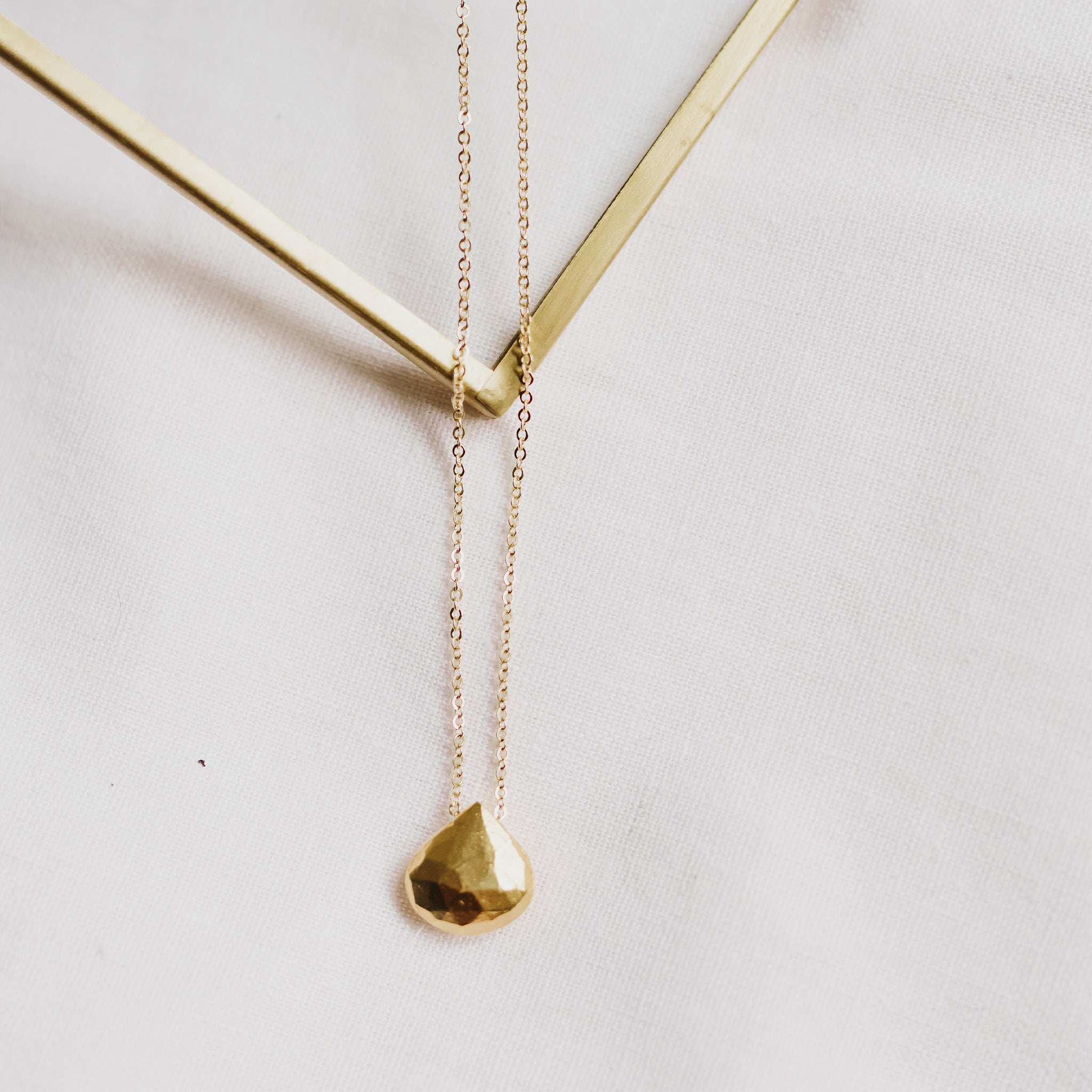 Wanderlust Life jewellery gold chain necklace with 14k gold fill gemstone. Large gold gemstone necklace with gold chain. Wanderlust Life gemstone jewellery handmade in the UK.