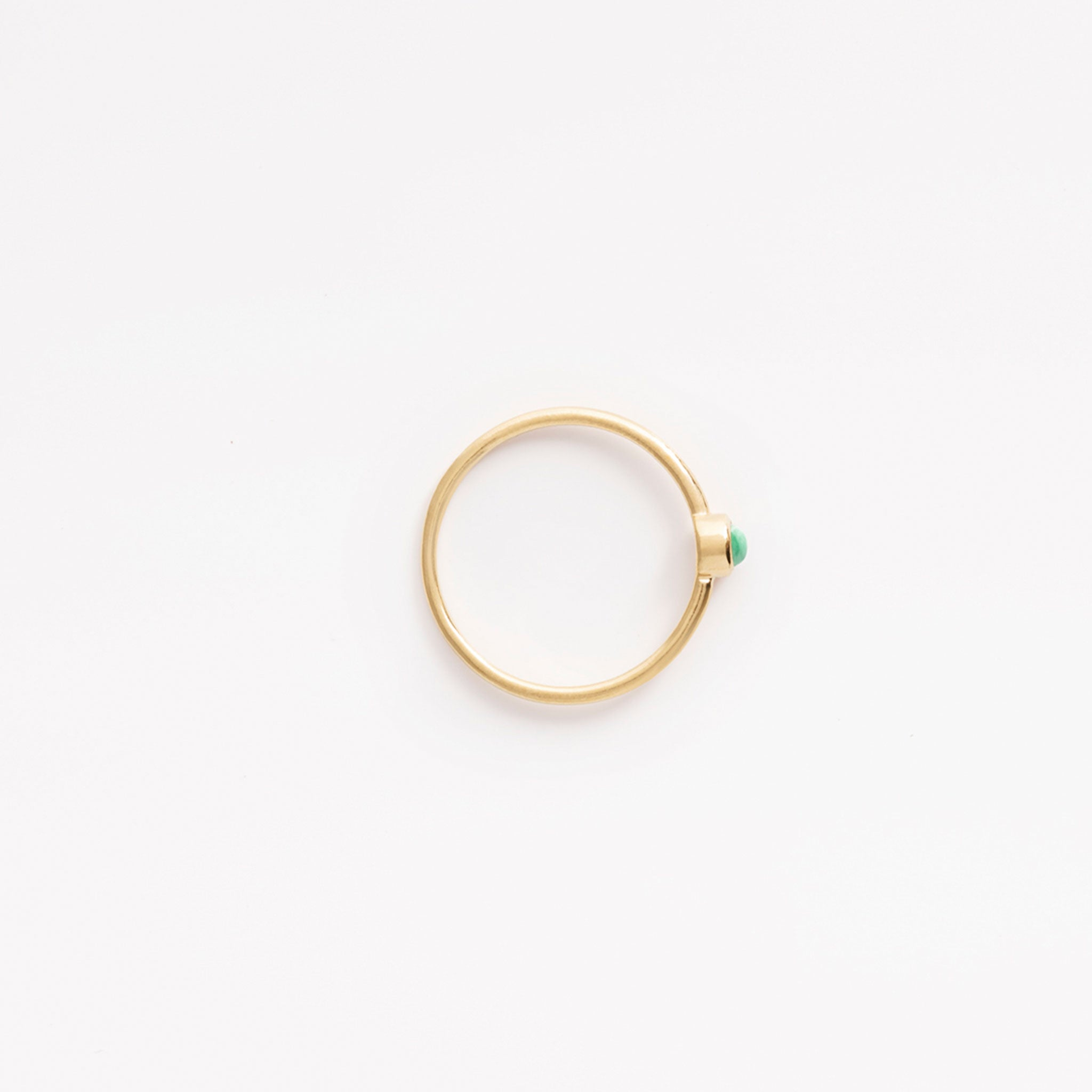 Wanderlust Life Birthstone Jewellery Collection. New May birthstone gold ring with semi precious emerald gemstone, the perfect gift of jewellery. Wanderlust Life handmade jewellery in the UK.