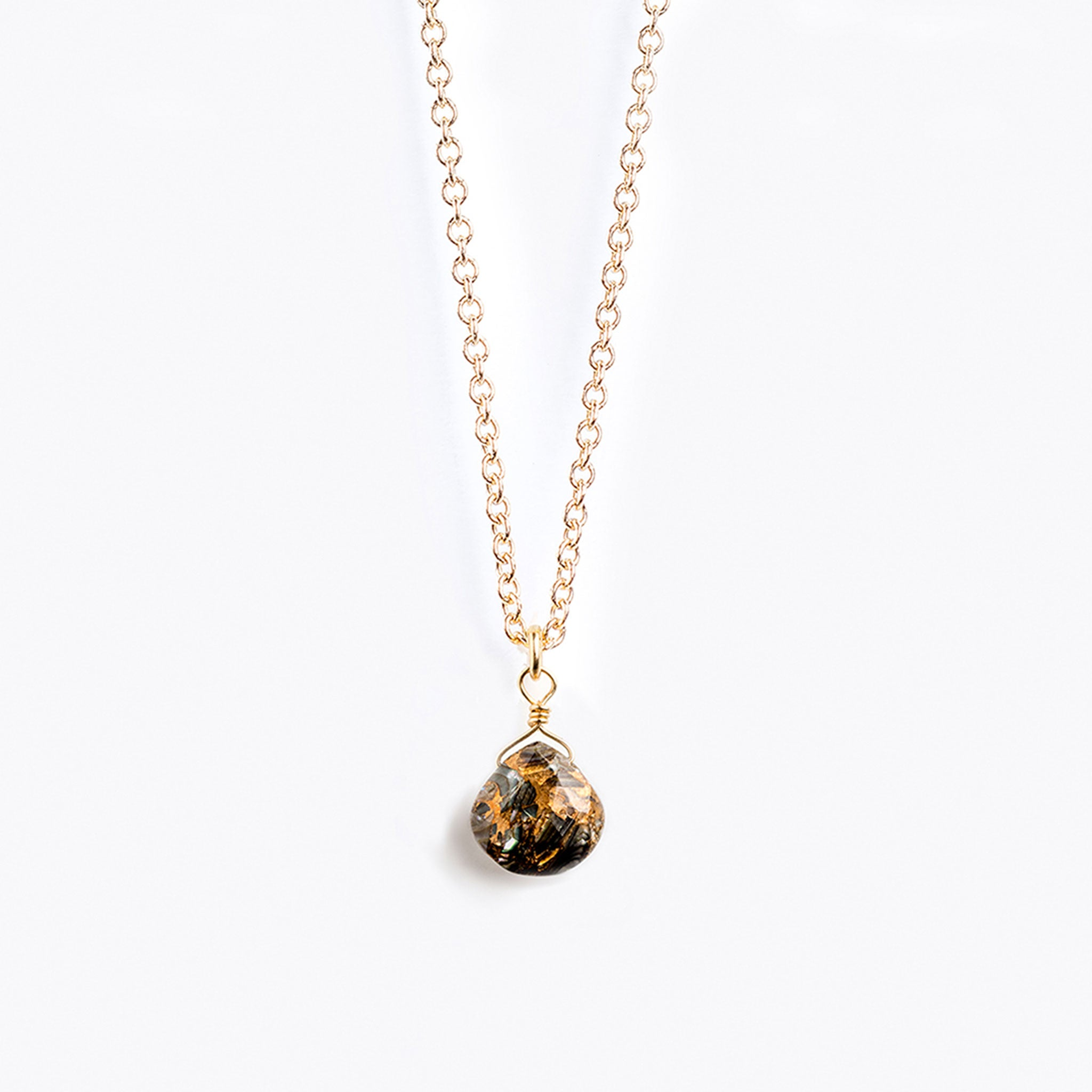 Wanderlust Life paua shell gold chain necklace with adjustable 17