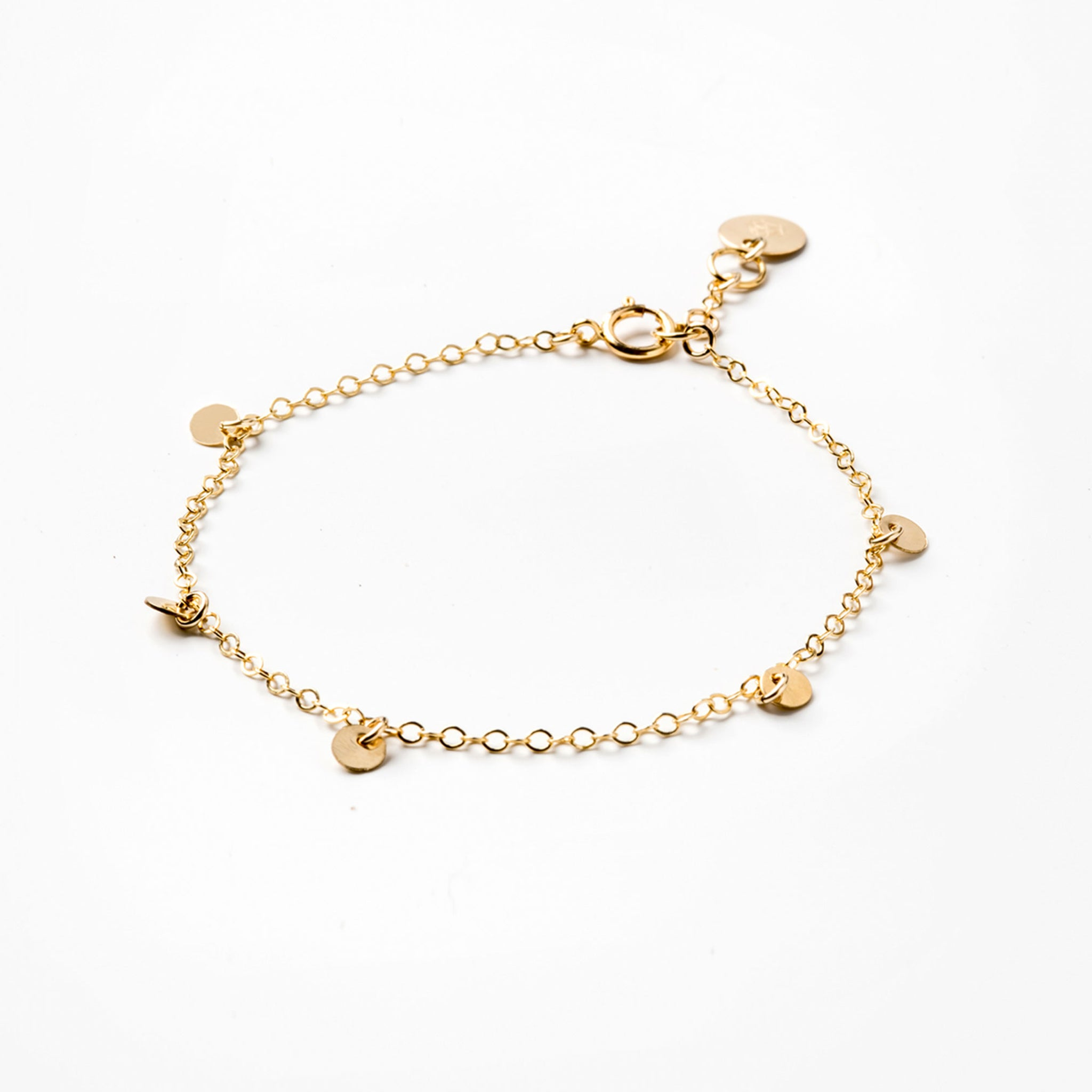 Wanderlust Life gold chain bracelet with adjustable gold chain. Wanderlust Life handmade jewellery in the UK.