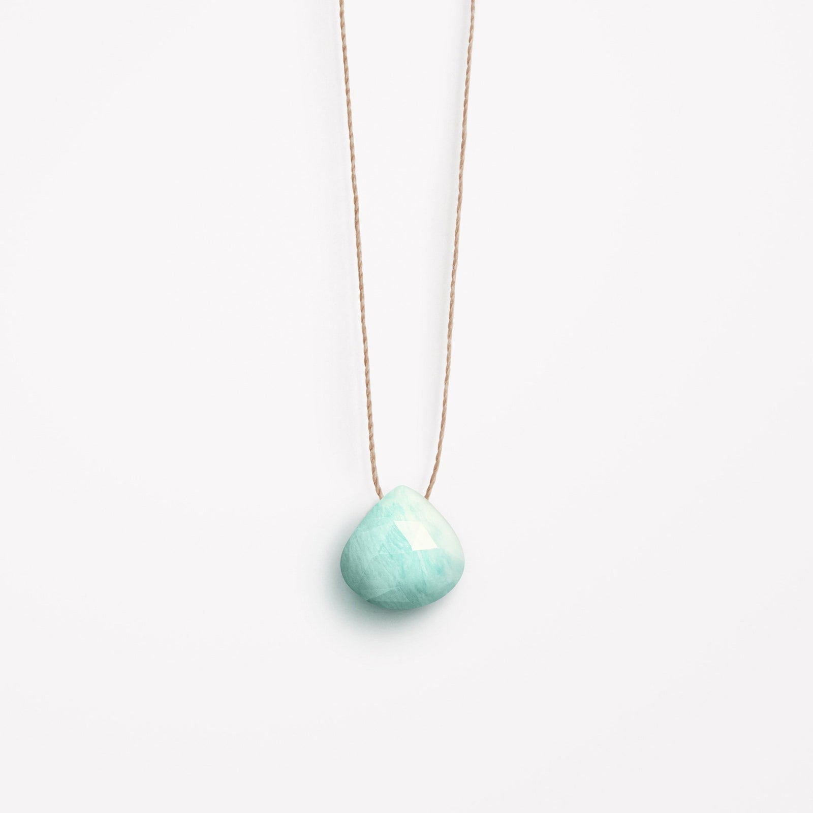Wanderlust Life Ethically Handmade jewellery made in the UK. Minimalist gold and fine cord jewellery. amazonite fine cord necklace