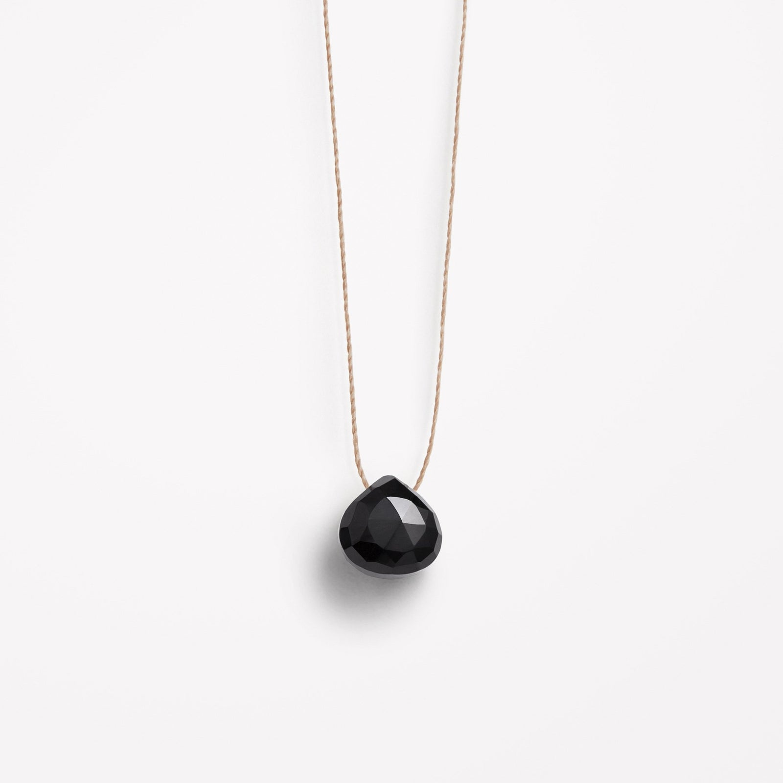 black spinel fine cord necklace