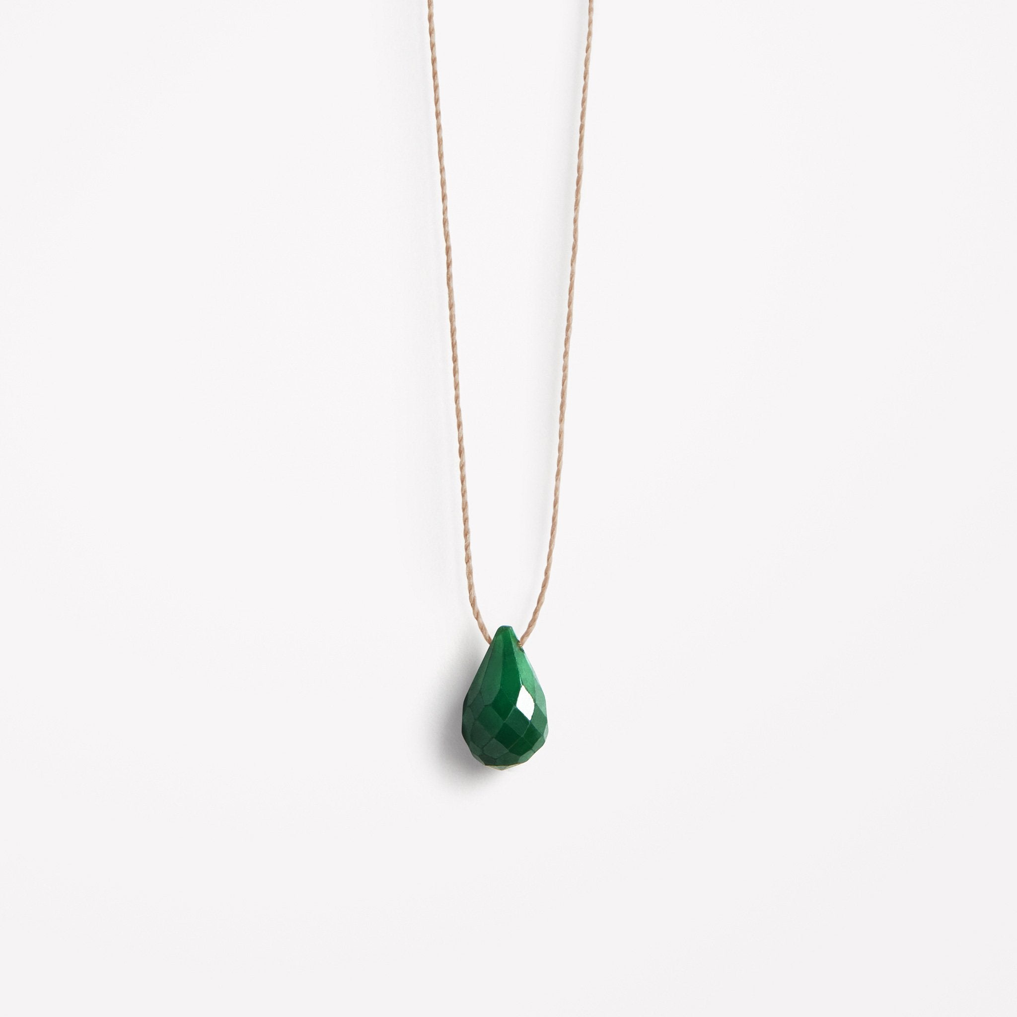 may birthstone | green emerald drop fine cord necklace