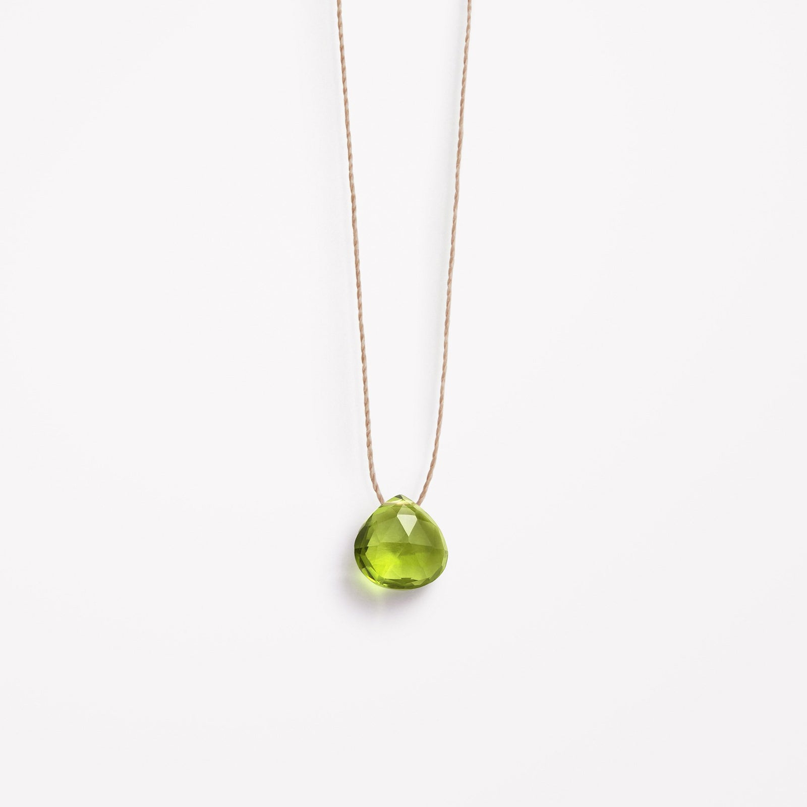 august birthstone | green peridot fine cord necklace