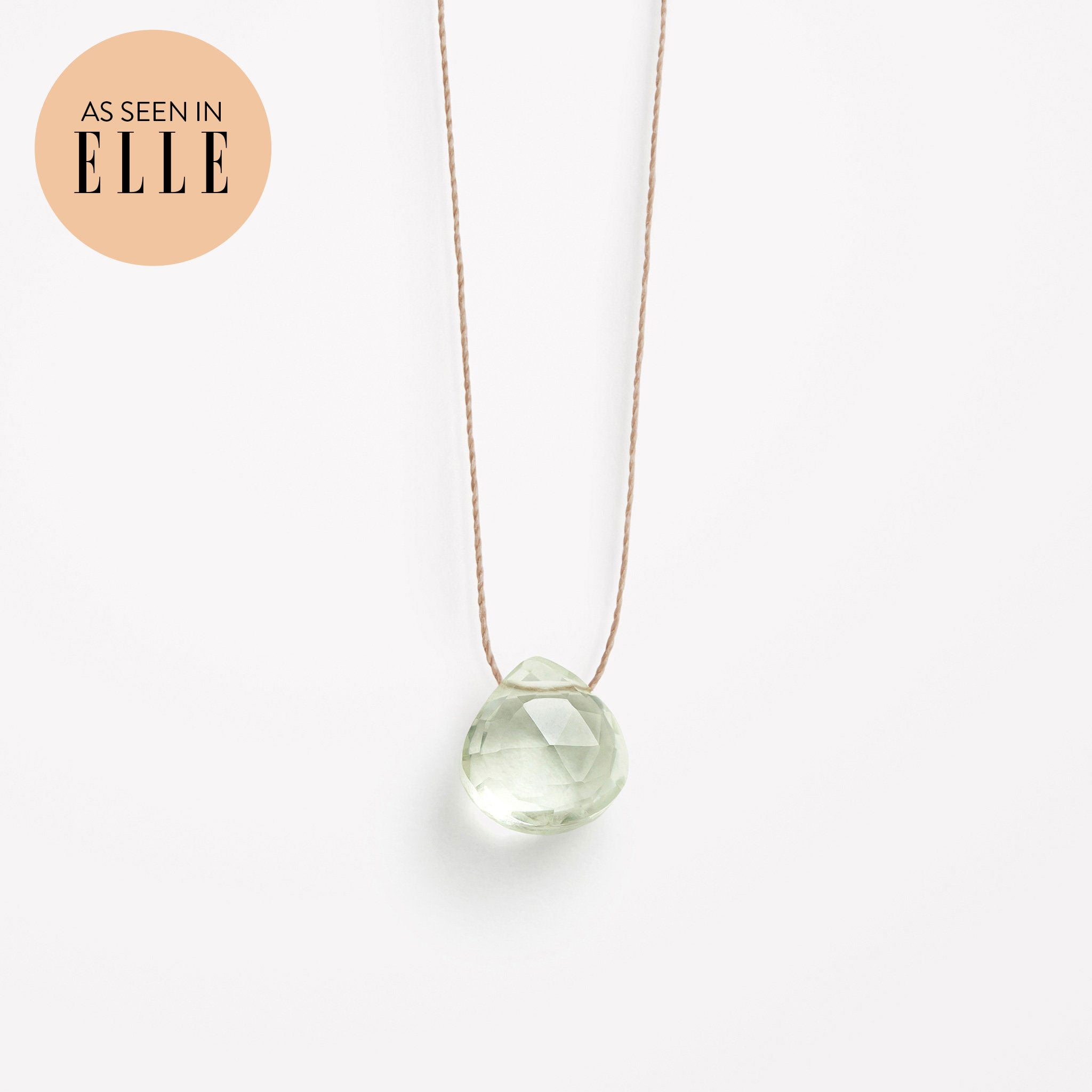 Wanderlust Life Ethically Handmade jewellery made in the UK. Minimalist gold and fine cord jewellery. february birthstone, mint green amethyst fine cord necklace