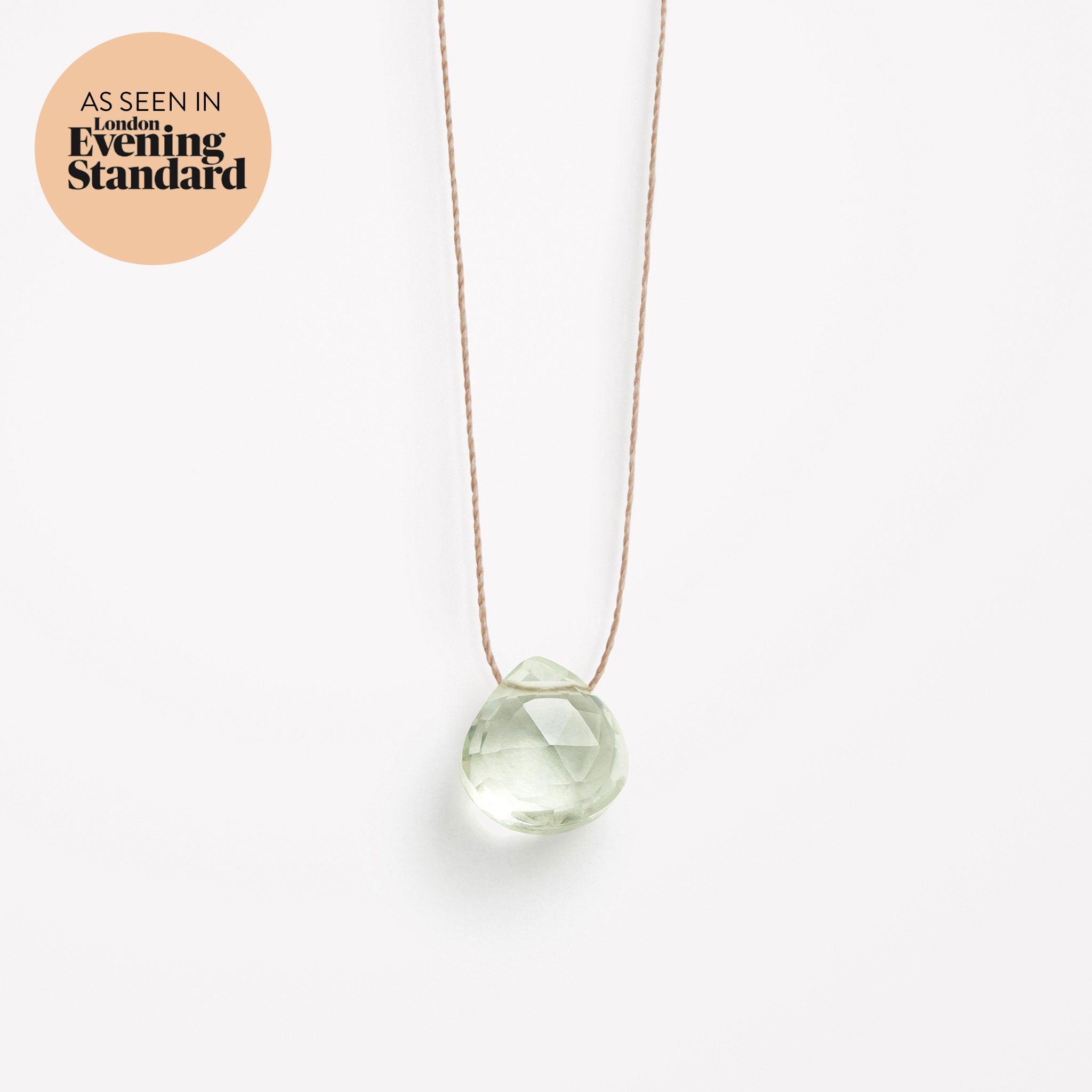 Wanderlust Life Ethically Handmade jewellery made in the UK. Minimalist gold and fine cord jewellery. mint green amethyst fine cord necklace. As seen in London Evening Standard