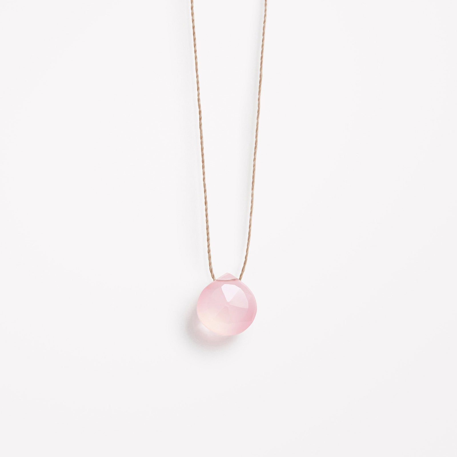 pale pink chalcedony fine cord necklace