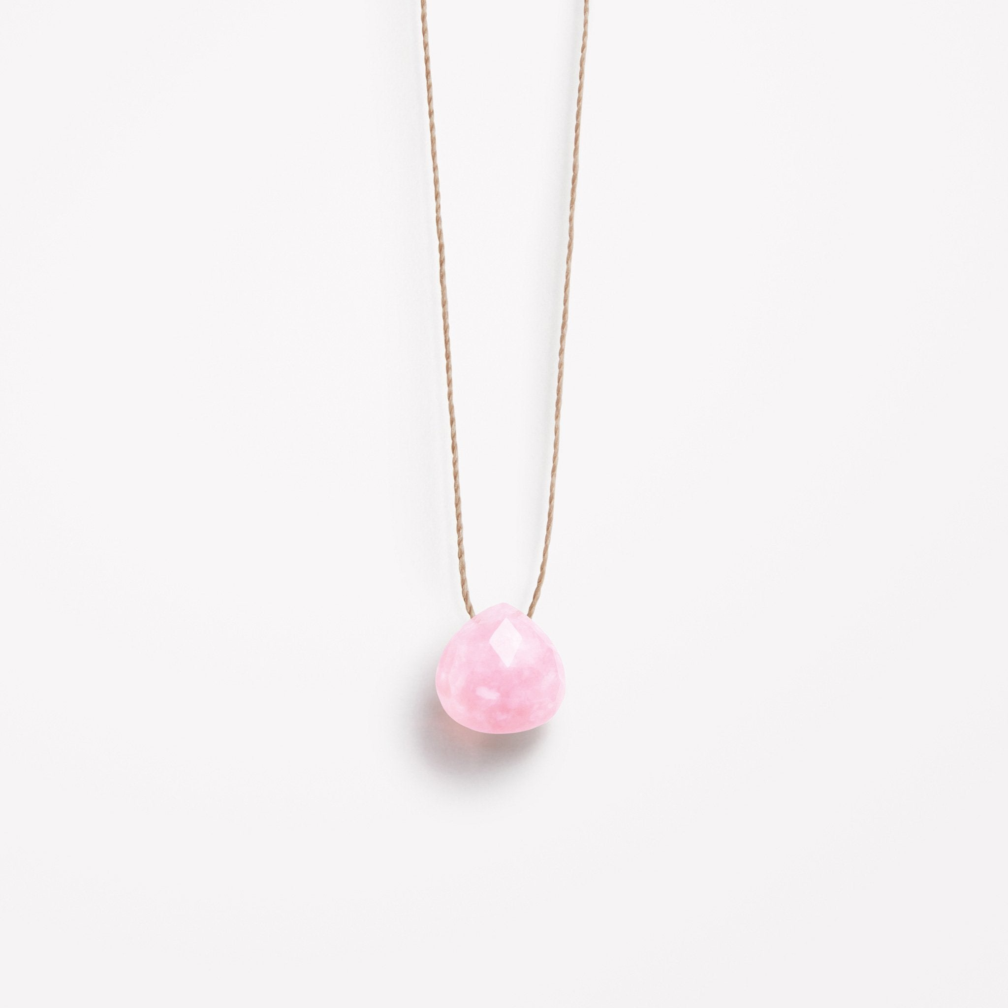 Wanderlust Life Ethically Handmade jewellery made in the UK. Minimalist gold and fine cord jewellery. pink opal fine cord necklace