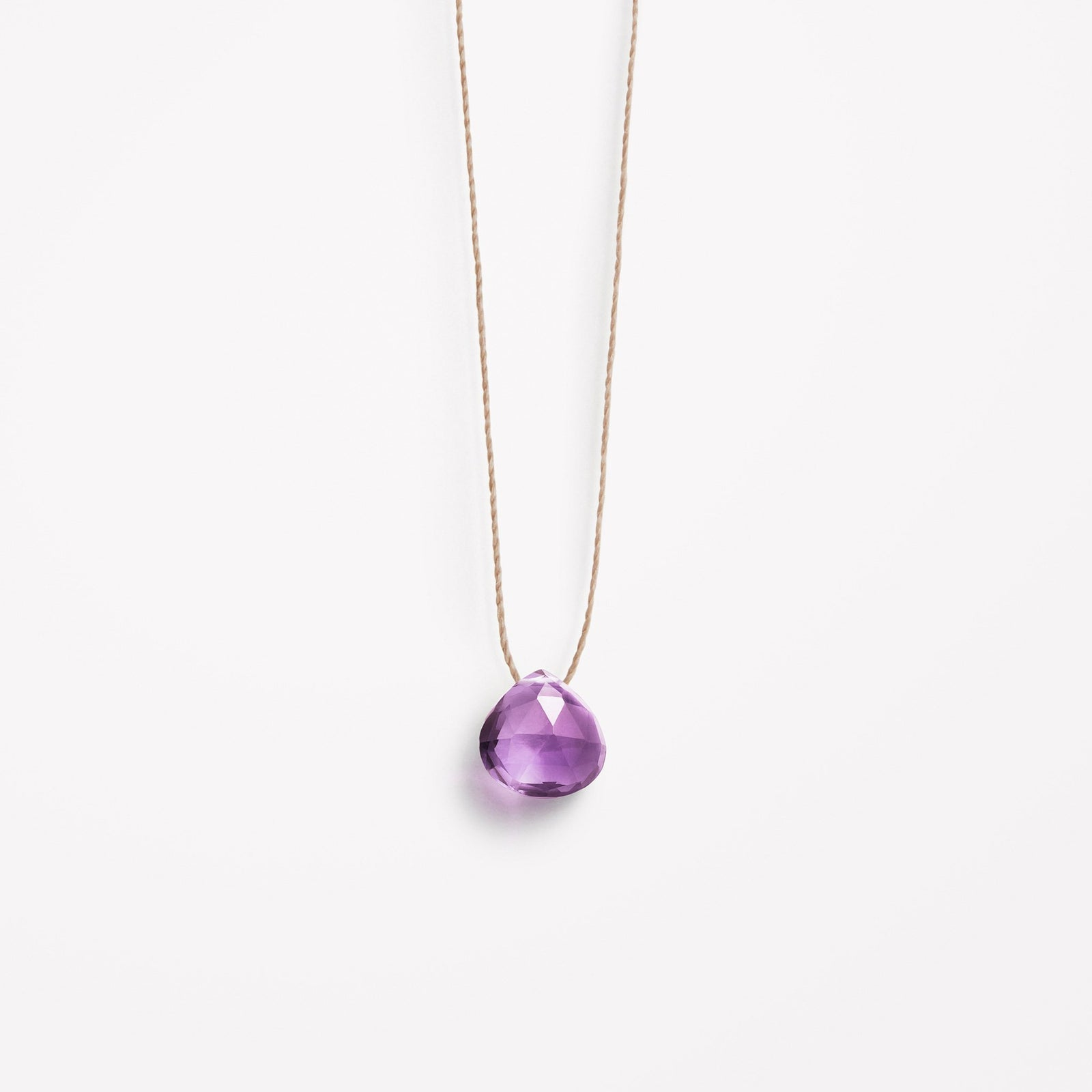 Wanderlust Life Ethically Handmade jewellery made in the UK. Minimalist gold and fine cord jewellery. purple amethyst fine cord necklace