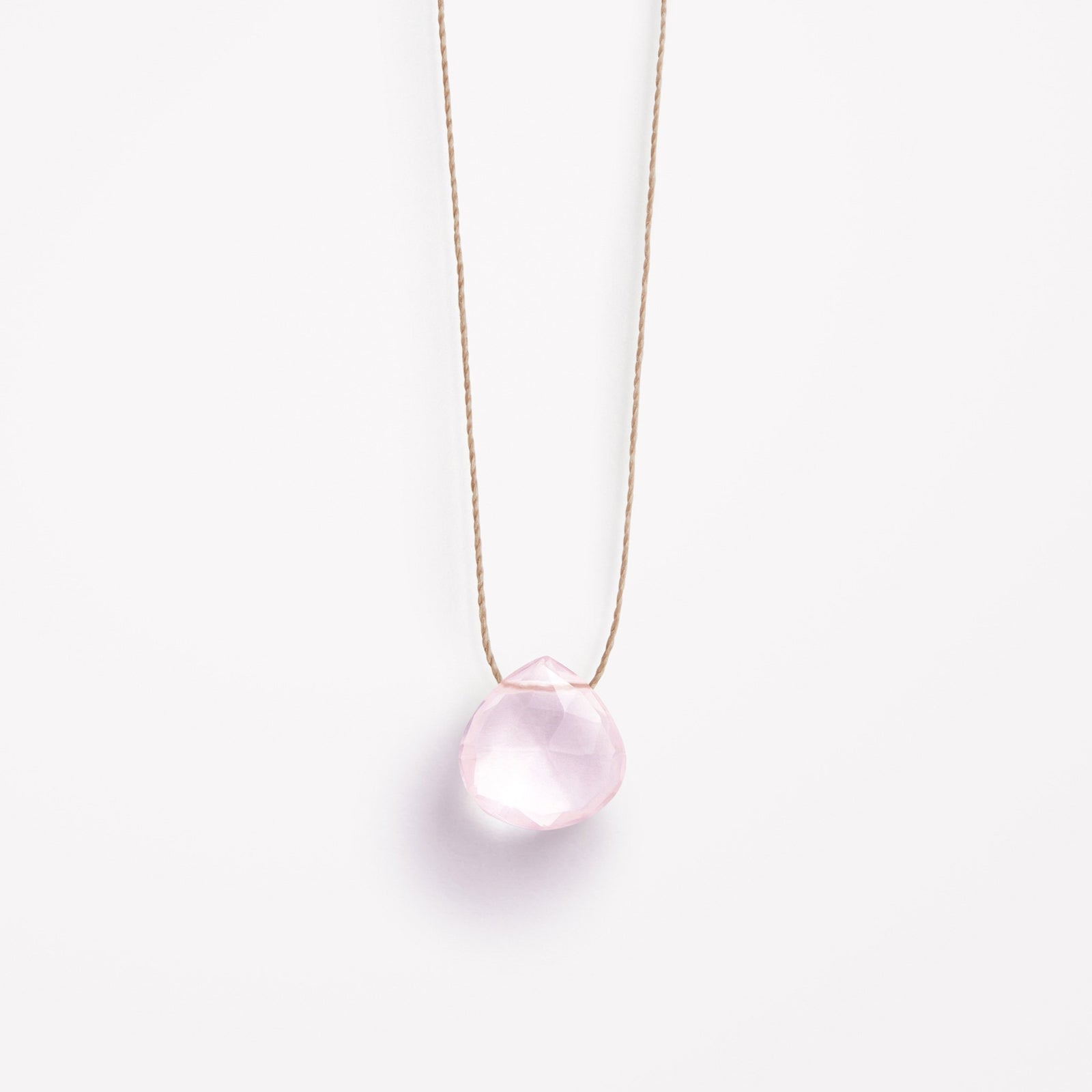 rose quartz fine cord necklace
