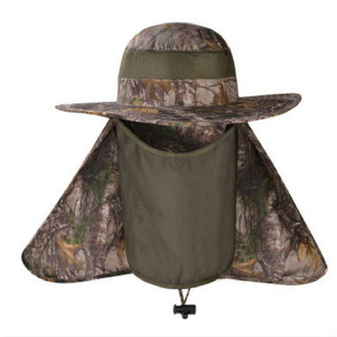 50de16edd1c Wide Brim Camouflage Hat With Rear and Face Veil UV Protection