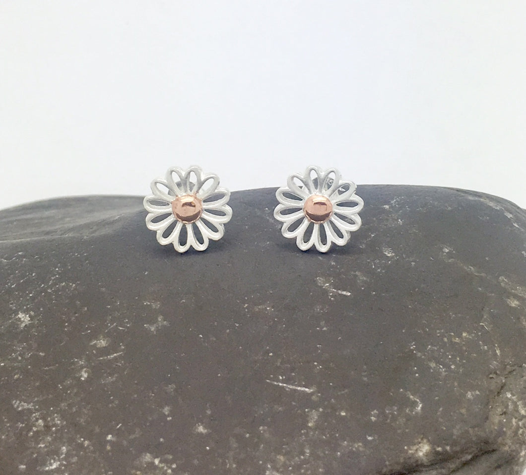 Silver & Rosegold Daisy Studs