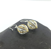 Silver & Gold Plated Caged Ball Earrings