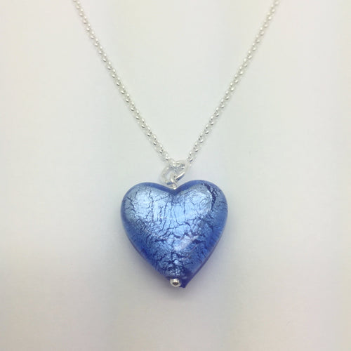 Blue Murano Glass Heart Pendant