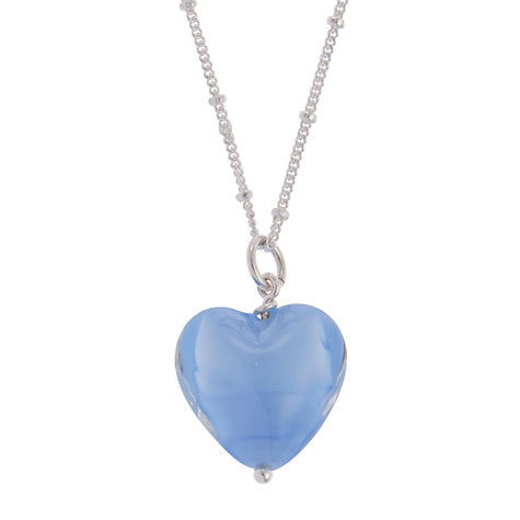 Cornflower Blue Pearlised Heart Pendant