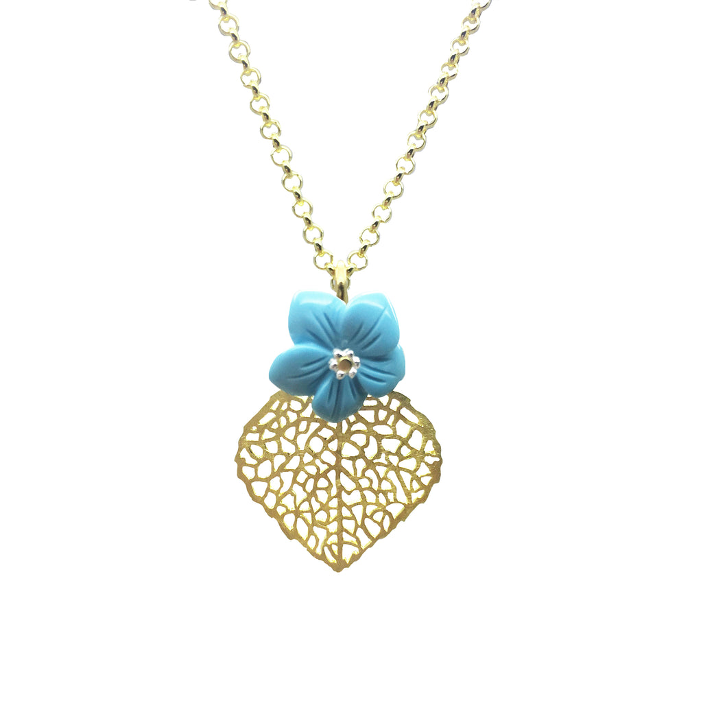 Gold Plated Leaf and Turquoise Flower Pendant