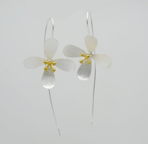 Satin Brushed Flower Earrings