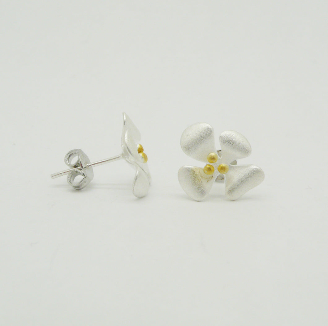 Satin Finish Flower Stud Earrings