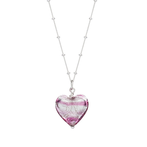 Raspberry Murano Glass Heart Pendant