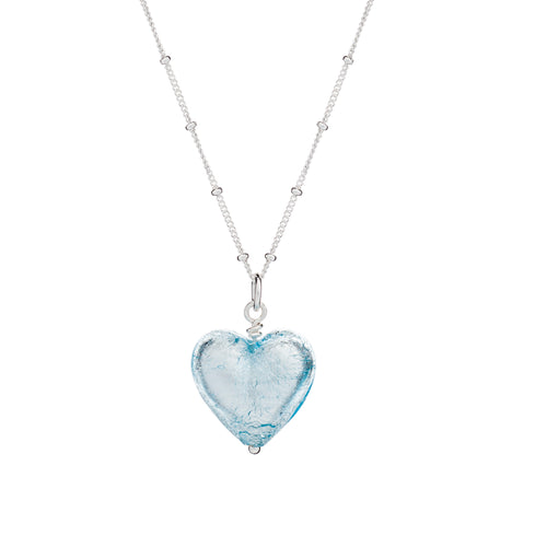 Aqua Murano Glass Heart Pendant