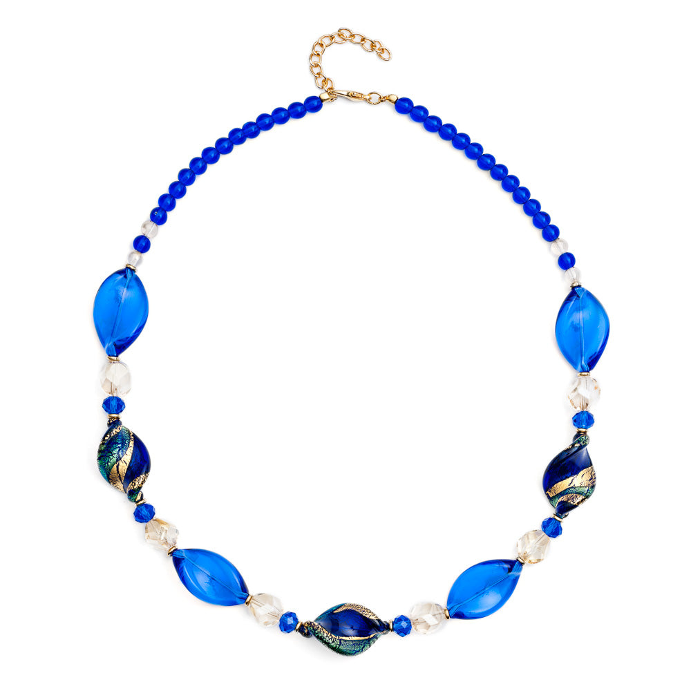 Blue and Gold Murano Glass Twist Necklace