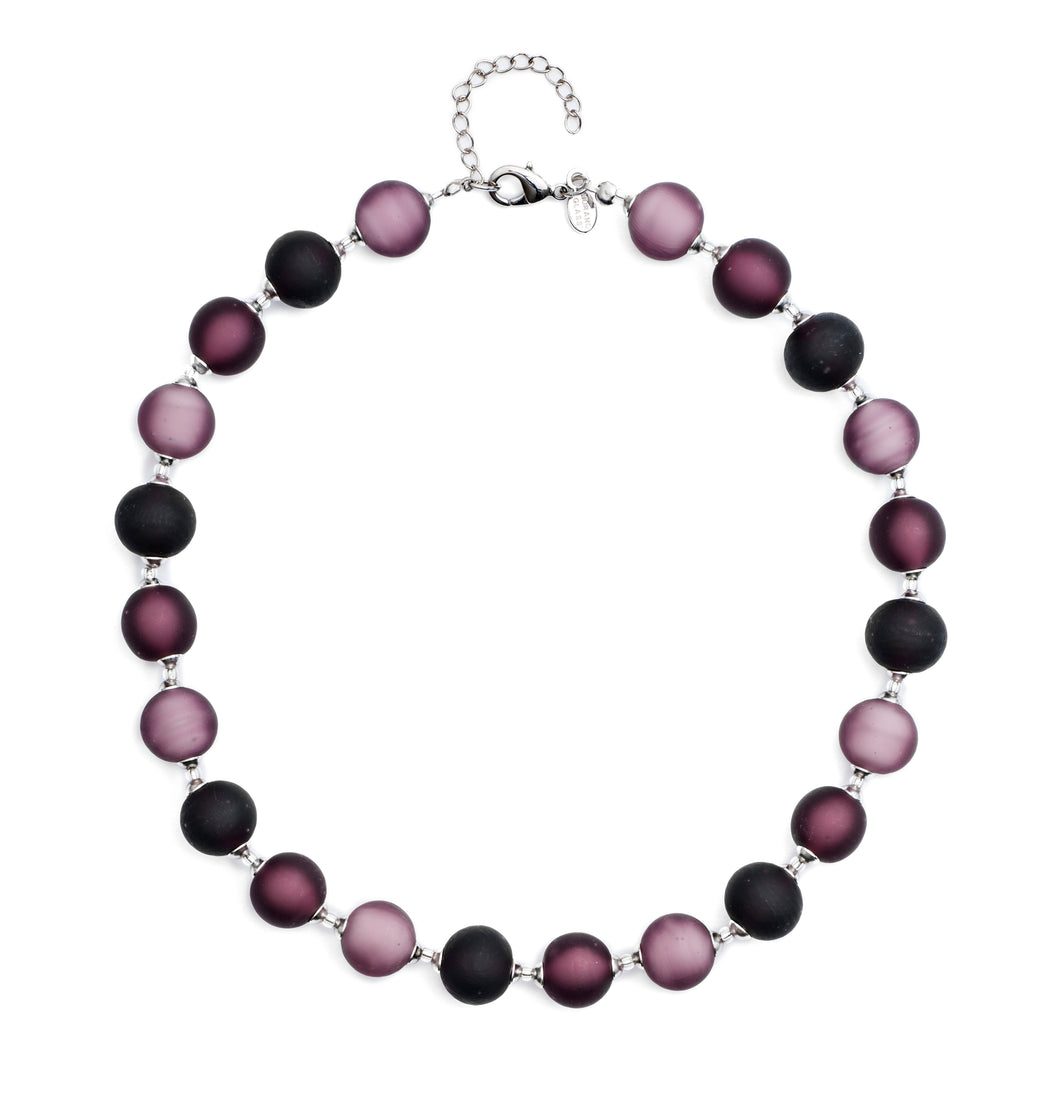 Frosted Bon Bon Necklace, Plum