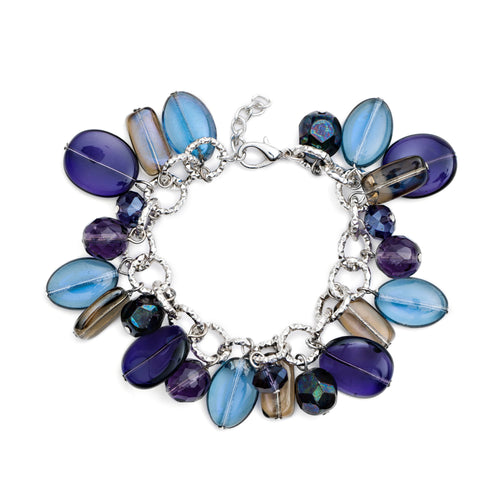 Pick N Mix Murano Glass Charm Bracelet Purple