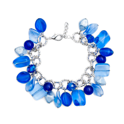 Pick N Mix Murano Glass Charm Bracelet Blue