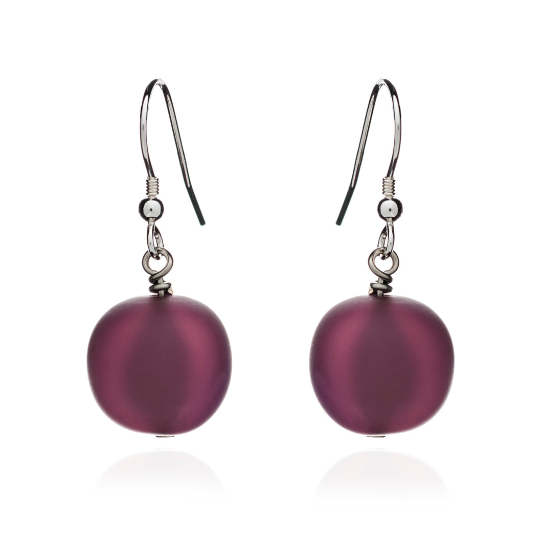 Plum Frosted Murano Glass Earrings