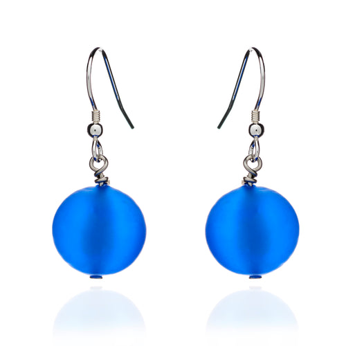 Blue Frosted Murano Glass Earrings