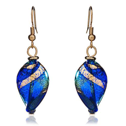 Twist Murano Glass Drop Earrings, Blue/Gold