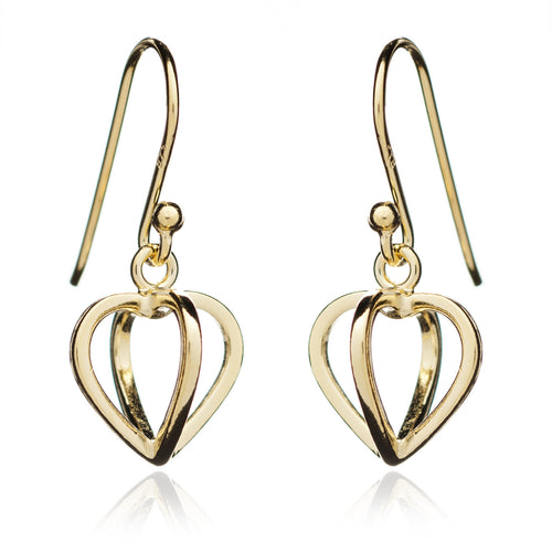 Yellow Gold Geometric Heart Earrings