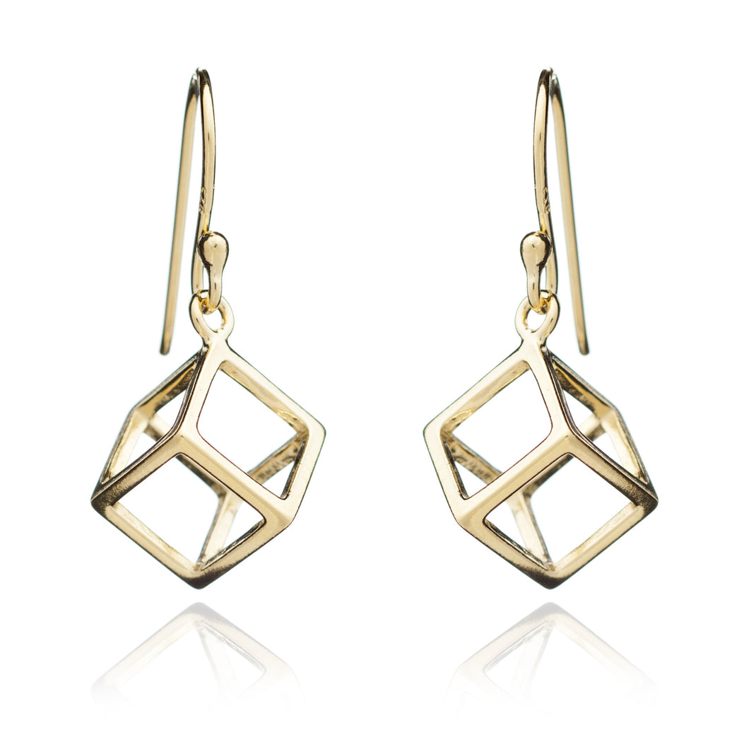 Yellow Gold Square Geometric Earrings